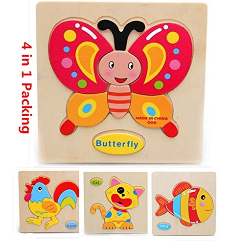 Wtong 3D Wooden Puzzles Jigsaw Educational Toys Puzzle for Toddlers Adult Kids 1-3 years(Pack of 4) -Domestic Animal-Chicken Fish Cat Butterfly