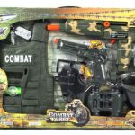 Combat Force Army Friction Toy Gun Complete Combo Set w/ Army Vest, Mask, Dog Tags, Toy Pistol, Holster, Binoculars, Whistle, & Mock Compass