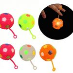 """Blinking Lights Bouncing Balls with String and Handle – Assorted Bright Colors with """"Soccer Ball"""" Design – 6 Pack – by Dazzling Toys"""
