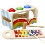 Lewo Wooden Toddlers Musical Toys Pound Tap Bench with Slide Out Xylophone Hammer Early Educational Games for Kids