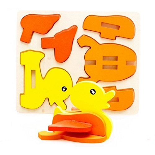 PYD 3D Kids Wood Jigsaw Puzzles Toys Baby Infants Early Educational Learning Toy Creative DIY Hand Models Accessory (Duck)