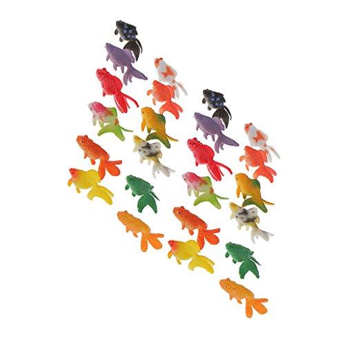 Jili Online 24 Plastic Mini Gold Fish Animal Figures Kids Party Gift Aquarium Decor Toys