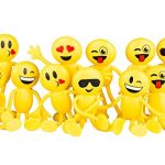 "Emoji Party Favors - Fun Toys - 1 Dozen 4.5"" Emoji Smiley Face Emoticon Bendable Figures - Bulk pack of 12"