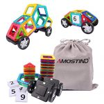AMOSTING Magnetic Tiles Building Block Magnet Stacking Toy Set - 46pcs