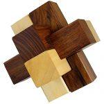 Burr Puzzle Wooden Brain Teaser 3d Lock Logic Game Interlocking Puzzles Wood Vintage 6 Pieces - 3.5 Inch