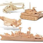 Puzzled F-15 Fighter Plane, Apache, Destroyer and Tank Wooden 3D Puzzle Construction Kit