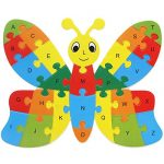 Butterfly Education toys 26 Alphabet English letters brain game kids wooden toys 3D wooden jigsaw puzzle