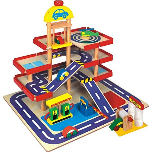 CP Toys Wooden 4 Story Parking Garage – Features 4 Wooden Cars and a Helicopter – 9 Pieces Total – Ages 3 Years and Up