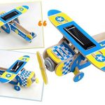 Sunnytech1pc Solar Energy DIY Kit Aircraft Wood Plane Child Educational 3D Wooden Jigsaw Puzzle Toy P210