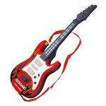Electric Guitar Toy, Yamix 4 Strings Rock Band Music Electric Guitar Band Musical Guitar Playthings Rock Star Guitar Kids Musical Instruments Educational Toy - Red Flame
