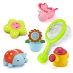 O-Toys 5pcs Baby Bath Toys Fun Cute Animals Plants Bathtub Toy Shower Squeaker Floating Toy for Kids Toddlers Infants (with Net Bag)