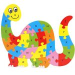 Dinosaur Education toys 26 Alphabet English letters brain game kids wooden toys 3D wooden jigsaw puzzle