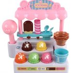 Memtes® Mini Ice Cream Shop Toy Stand Pretend Play Set with Lights and Sound For Kids