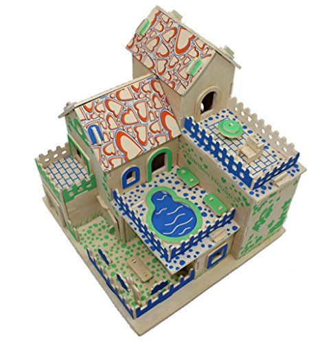 3D DIY Wooden Puzzle Build House Model Building Kits Wooden Toys Educational for Children Wooden Toys 22*21*20CM