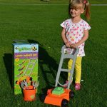 KIDS PLASTIC TOY GARDENING LAWNMOWER PLAY SET RAKE TROWEL FORK TOOLS OUTDOOR FUN by IN THE GARDEN BUSY BUSY BEE