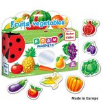 Roter Kafer Refrigerator Magnets for kids FRUITS & VEGGIES (32 pcs) - Fridge Magnets for Toddlers activity - Educational Kid magnets - Toddler magnets - Baby Magnets - Food Magnets