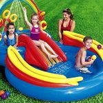 "Kids Backyard Intex Rainbow Ring Inflatable Play Center, 100"" X 77"" X 31 Water Slide Inflatable Fun Play Center Summer Outdoor Pool Fun Swimming"