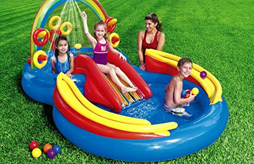 Kids Backyard Intex Rainbow Ring Inflatable Play Center, 100