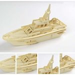Liangxiang Nature Wood 3D Assembly Jigsaw Toys Woodcraft Kit Wooden Puzzles Toy for Kids and Adults (patrol boats)