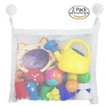 """2 Pack Bath Toys Organizers, Zebrum Mold Proofing Toy Net, Large (18""""x14"""") Strong Storage Mesh Bag with 6 Bonus Quality Suction Hooks (White)"""