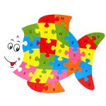 Fish Education toys 26 Alphabet English letters brain game kids wooden toys 3D wooden jigsaw puzzle