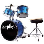 Music Alley DBJK02 Kids 3 Piece Beginners Drum Kit, Blue