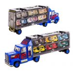 Transport Car Carrier Truck/diecast car Toy for Kids (includes 6 alloy cars,3 animal cars,3 number cars and traffic accessories) … (Blue)