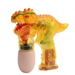 T-Rex Bubble Gun Shooter Yellow - Tyrannosaurus Fun Kids Outdoor Gun Shooter with LED Lights and Sounds, Dinosaur Bubbles Blowing Blasting Machine, Great for Kids