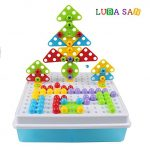 LUBA SAN Take Apart Imagination Building Bricks Blocks Assembly Disassembly Construction 3D Mosaic Building Puzzles DIY Play Toys Set with Screw Nuts Tools,189 Pcs.