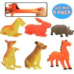 Animal Toy,8 Inch Rubber Animal Sets(6 Pack),Food Grade Material TPR Super Stretchy With Gift Bag,ValeforToy Jungle Farm Animal Figure Learning Resource Bathtub Bath Toy Party Favors For Boys Kids