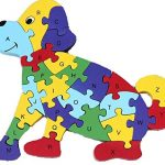 Dog Education toys 26 Alphabet English letters brain game kids wooden toys 3D wooden jigsaw puzzle