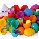 Toy filled Easter eggs, surprise eggs filled with Easter toys, 50 pack great for Easter eggs school hunt, Surprise Eggs Hinged Together for Easy Assembly with Bonus Easter Multi Color Highlighter