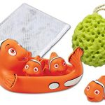 """Rubber Clown Fish Family Bath Toy Set - 7"""" Non-Phthalate Vinyl Toy - Set of 4 - Bathtub Toy Storage Mesh Bag and Bath Sponge Included"""