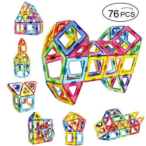 Magnetic blocks magnetic building blocks magnet tiles construction set educational stacking toys for kids &toddlers with storage bag --76pcs