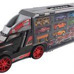 Memtes Car Carrier Transport Truck Toy for Kids (Includes 8 Metal Cars, 1 Truck and Accessories)