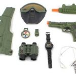 Combat Force Army Friction Toy Gun Complete Combo Set w/ Friction SMG, Army Vest, Mask, Dog Tags, Toy Pistol, Holster, Binoculars, Whistle, & Mock Compass