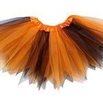 So Sydney Adult Plus Kids Size PIXIE FAIRY TUTU SKIRT Halloween Costume Dress Up (M (Kid Size), Orange & Black)