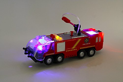 Bezrat Mini Electric Fire Truck Battery Operated Bump and Go Toy Truck w/ Flashing Lights, Goes Around and Changes Directions With Sounds And Sirens. Great Gift Toys for Kids (colors may vary)