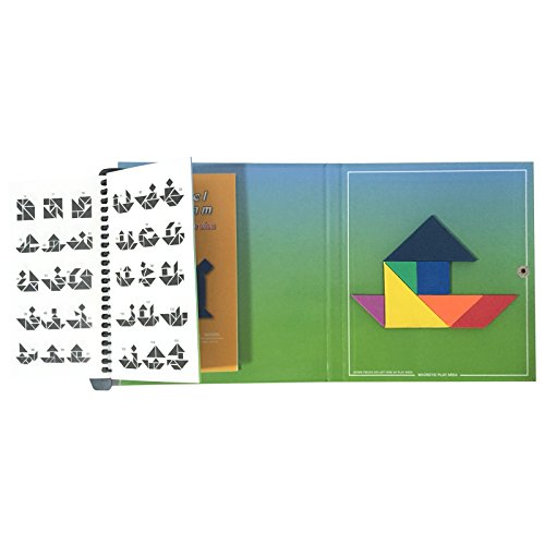 Qualors Travel Tangram (Size:S) Includes 240 Puzzles and Solutions   Build Animals People Objects with 7 Simple Magnetic Colorful Shapes   Kids Travel Essentials   Great Games for Adults Travel Junior