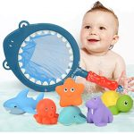 Onway Child Floating Bath Toys with Net/7 pieces,Multiple gameplay/Mesh Storage bag is gift for Children's Day