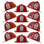 Children Red Firefighter Fire Chief Plastic Hat - Dress Up Costume Fireman Theme Party - Soft Helmet Hat Halloween Prop (12 Pcs. Set)