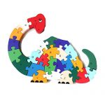 XIECCX Animal Wooden Puzzle Alphabet Alphanumeric Number Building Blocks Children Educational Toys Children Gift-Dinosaur