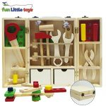 Fun Little Toys Solid Wood Tool Box Educational Construction Playset Hammer Wrench Role play set - 43 pcs