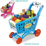 Blue Pretend Play Shopping Cart Toy for Kids with 3 in 1 Grocery Cart with Light and Sound (78) pc Grocery Set (US Seller)