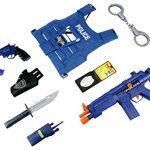 World Police Force 10 Piece Children Kid's Pretend Play Friction & Battery Powered Toy Gun Playset w/ Gun, Pistol, Vest, Accessories