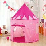 PLAY10 Pink Princess Castle Play Tent for Girls Indoor/Outdoor Fun with Zipper Carry Bag, Not Included Play Pit Balls