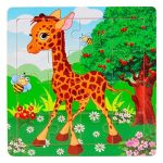 "Learning Puzzles,Malltop 16 Piece Cute Cartoon Giraffe Wooden Jigsaw Toys For Kids Education 5.8""x5.8"""
