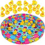 "Duck Pond Matching Game for kids by GAMIE - Includes 20 Plastic Ducks with number & shapes And 3' x 6"" Inflatable Pool - Fun Memory Game - Water Outdoor Game for Children, Preschoolers, Birthday Party"