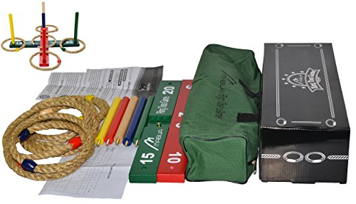 Flash Sale! Mabua Ring Toss Outdoor Games Kids Adults With 10 Quoits Carry Bag. Toys for 5 year old boys girls - Also Available: 10 Quoits and 15 Plastic Ropes