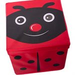 Kid's Red Ladybug Storage Box and Toy Organizer with Lid